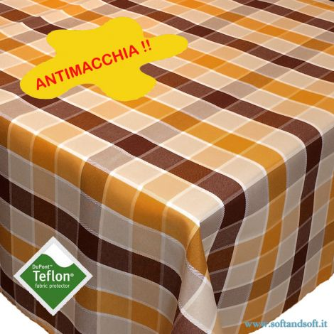 BORA Table cloth for 6 cm 140x180 check pattern no stain TEFLON yellow and brown