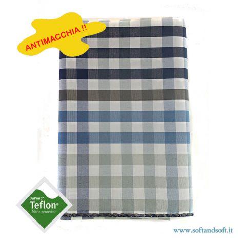 BORA Table cloth for 12 cm 140x250 check pattern no stain TEFLON Blue 610303