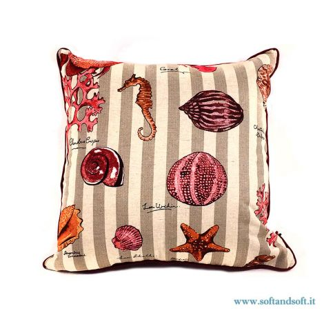 NETTUNO Cushion cm 45x45 coral sea shell  Red
