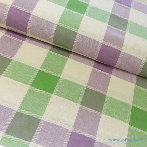 tessuto quadri viola verde