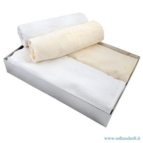 LEAVES Set asciugamani spugna 2+2 pezzi  Bianco e Panna