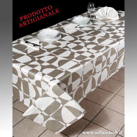 XENIA Tovaglia per 12 con tovaglioli puro cotone stampa in laminato cm 150x260