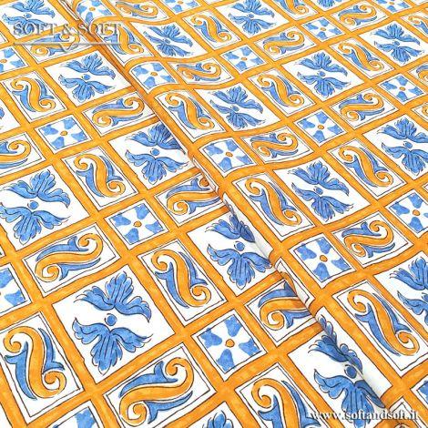 CALTAGIRONE tessuto arredo cm140 TELA FINISSIMA giallo e azzurro