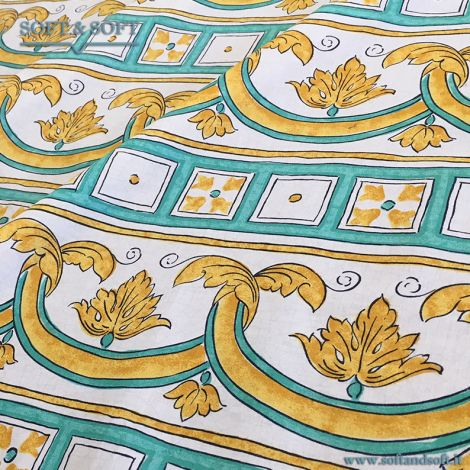 CALTAGIRONE decor fabric cm 140 super thin canvas green and yellow 684916