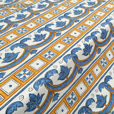 CALTAGIRONE decor fabric cm 140 super thin canvas blue and yellow