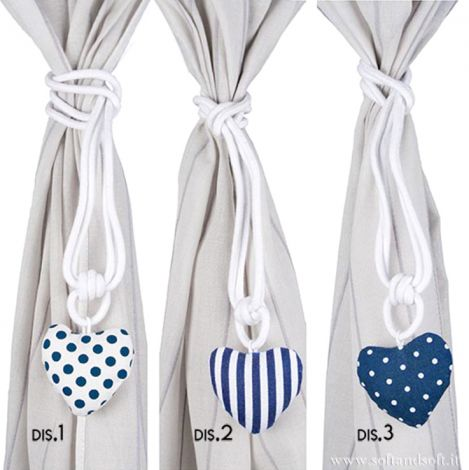 SARDINIA Couple .Curtain Rope Hearts in Pure Cotton