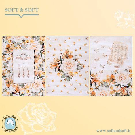 BOUQUET Set 3 Dishcloth cm 75x50 Digital Print