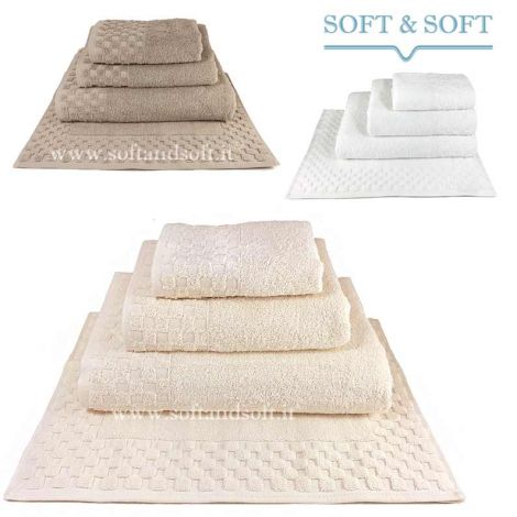 Check Towel Set + Bathmat 500 gr/sm high quality