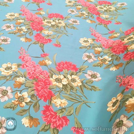 ACCADEMIA FIORI Decor Fabric cm 140 Cotton Satin Canvas