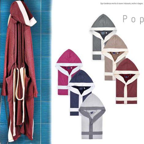 POP Accappatoio Bicolore in Spugna leggera di Puro Cotone