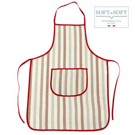INCAS grembiule cuoco a righe tinto in filo Rosso
