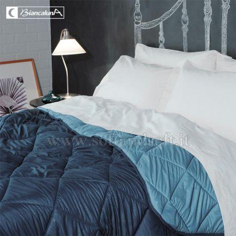 INDICOLOR copriletto trapuntino bicolore misura SINGOLA Biancaluna-M2Blu