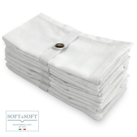 IRLANDA set 2 tovaglioli cm 40x40 puro cotone Bianco