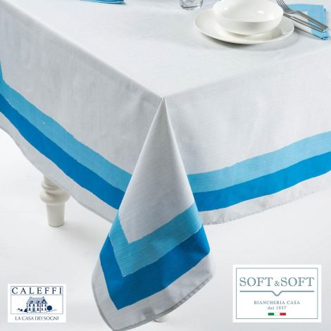 ITALY kitchen tablecloth 150x240 cm in pure cotton-Blue
