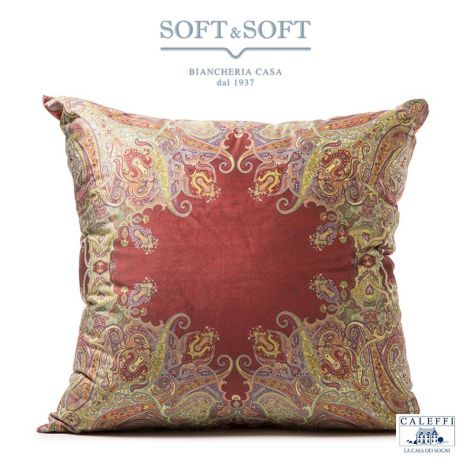 KASHMIR Cushion cm 60x60 velvet Digital Print by CALEFFI - bordeaux