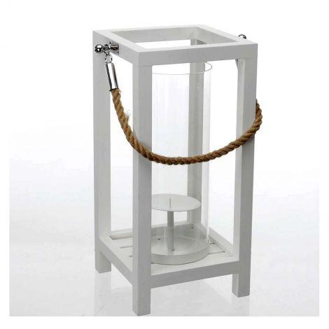 Lanterna grande alta 60 centimetri in legno bianco moderna con manico in corda e parafiamma in vetro