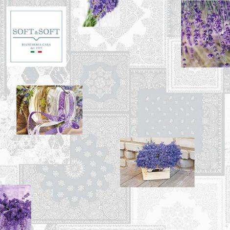 Lavender laminated fabric for tablecloth cm 120H (sales per meter)