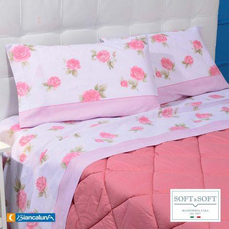 LENGA completo lenzuola SINGOLO puro cotone Biancaluna Rosa