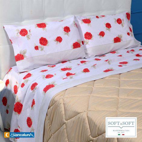 LENGA completo lenzuola MATRIMONIALE puro coto Biancaluna Rosso
