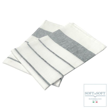 LINO Set of 2 pure linen kitchen towels 60x70