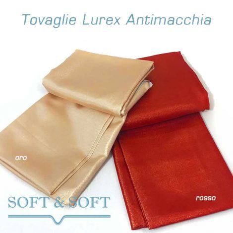 LUREX Tovaglia NATALE per 6 cm 140x180 rosso oro ANTIMACCHIA