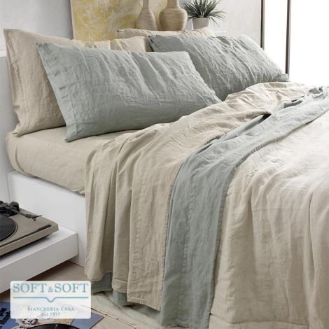 MANILA duvet cover set for double bed  Stone Washed flax and cotton