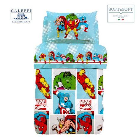 MARVEL COMICS trapunta invernale letto singolo Marvel CALEFFI + Lavetta Spiderman