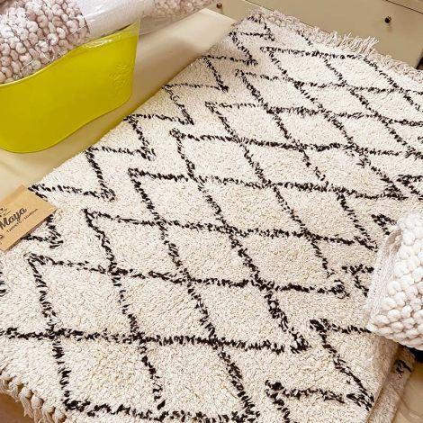 Maya tappeto moderno con frange cm 50x80 puro Cotone