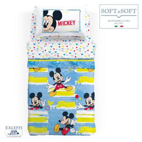 MICKEY AVVENTURA Copriletto Trapuntino Misura SINGOLA 165x265 Disney CALEFFI