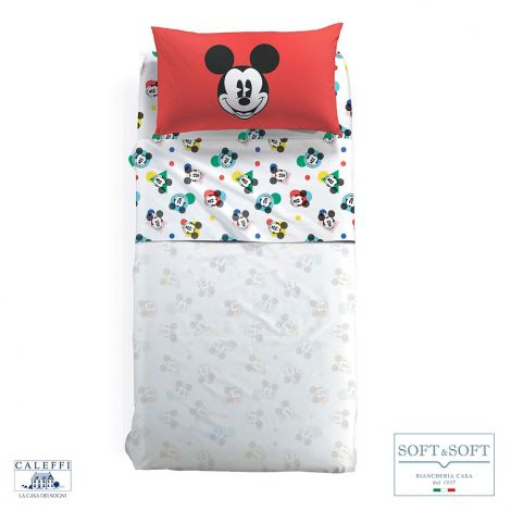 MICKEY COLORS completo lenzuola misura SINGOLA Disney CALEFFI