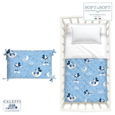 MICKEY NOTTE DI STELLE quilt and bumper Disney cot by CALEFFI