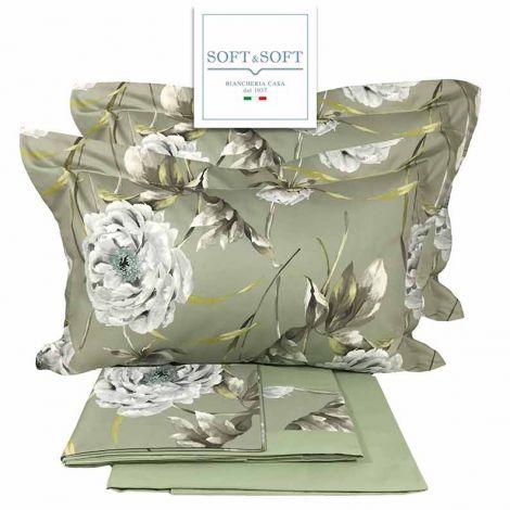 MINERVA completo lenzuola matrimoniali con bordo in Raso di Cotone Made in Italy