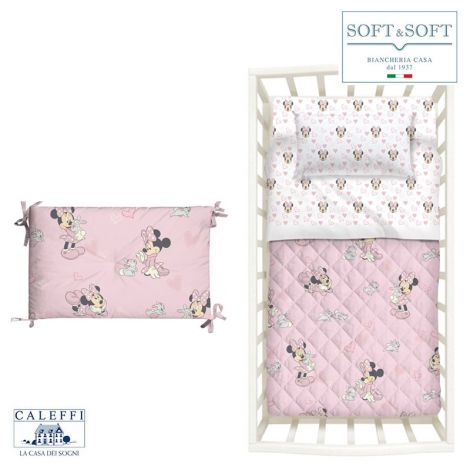 MINNIE AMICI quilt and bumper Disney cot by CALEFFI