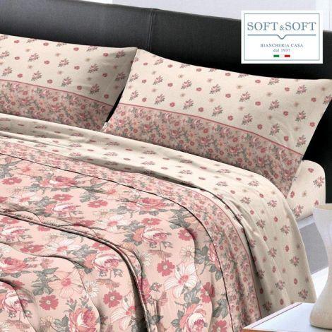 NANCY completo lenzuola per letto MATRIMONIALE Flanella Puro Cotone