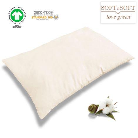 NATURE Guanciale / Cuscino da letto fodera e imbottitura in Puro Cotone