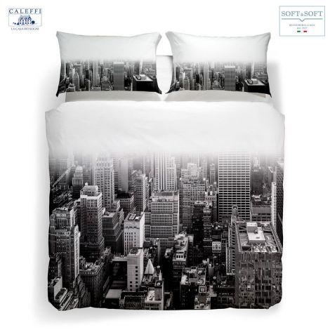 NY BLACK & WHITE complete duvet cover for DOUBLE CALEFFI digital print