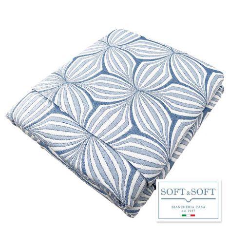 OPTIC copriletto matrimoniale matelassè Made in Italy-Azzurro