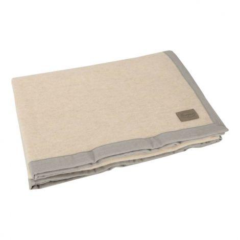 ORISSA coperta MATRIMONIALE in pura lana merino australiano e cashmere 230x250-Ecrù