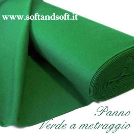 MONTECARLO Panno Verde da Gioco a Metraggio cm 180(h) - mollettone + ORLO