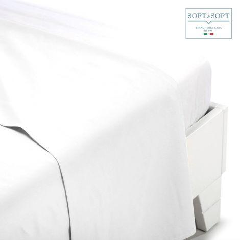 Lenzuolo Percalle matrimoniale piatto bianco cm 240x300