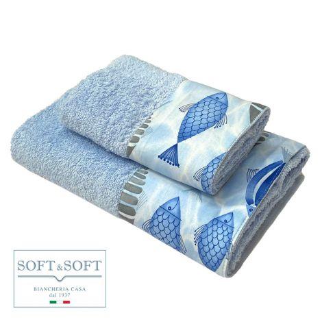 PESCI set asciugamani 1+1 balza stampata-Azzurro