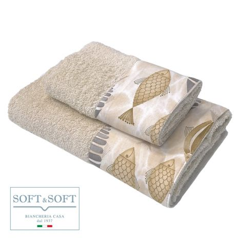 PESCI set asciugamani 1+1 balza maiolica-Corda