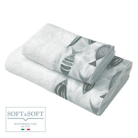PESCI set asciugamani 1+1 balza stampata-Grigio