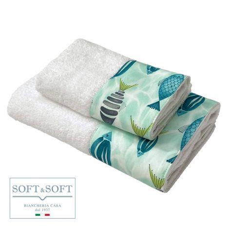 PESCI set asciugamani 1+1 balza stampata-Turchese