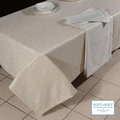 PINETA lurex tovaglia natale tessuto fiammato ramage per tavolo da 12
