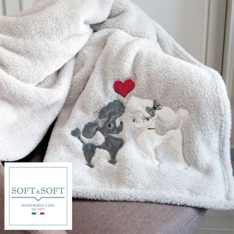 Tender plaid very soft embroidered blanket 130x160 cm KISS