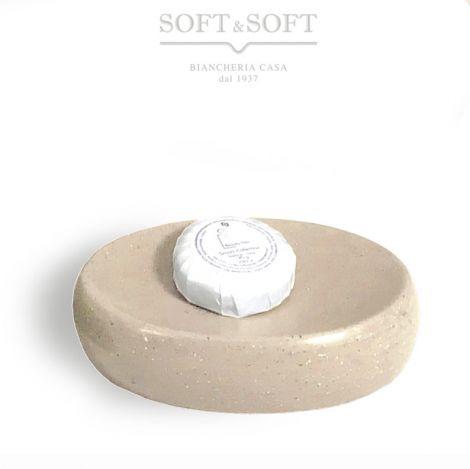 SAND porta saponetta ovale in ceramica beige naturale effetto pietra