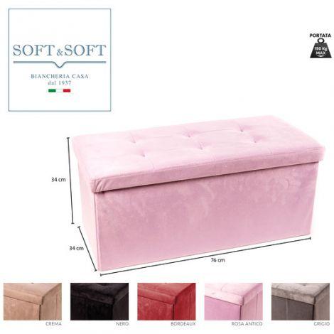 BOX PUFF Maxi in velluto poggiapiedi sgabello ripiegabile