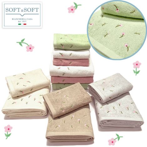 PRINTEMP set asciugamani ricamati a fiorellini 1+1 (asciugamano viso+bidet)