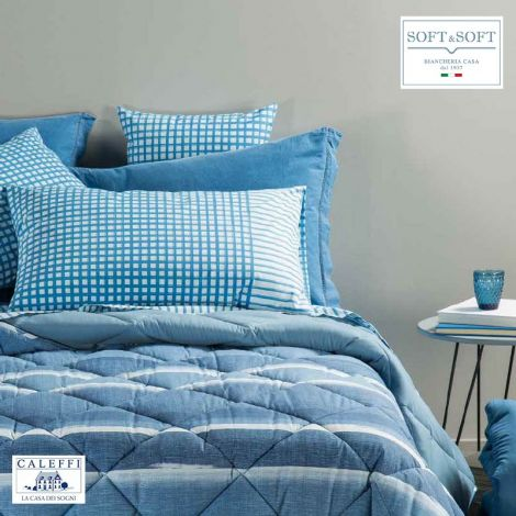 QUADRETTI sheet set three-quarter size in cotton fabric CALEFFI Blue
